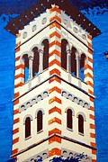 Church Pillars Painting Metal Prints - Shrine Bell Tower Detail Metal Print by Sheri Parris