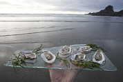 Waiter Prints - Shucked Oysters Sit On A Platter Held Print by Taylor S. Kennedy