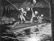 Indian Tribal Art Art - Shuswap Night Fishing by Photo Researchers