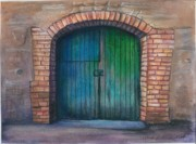 Entrance Door Drawings Posters - Shut the Door Poster by Linda Kemp