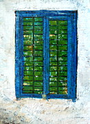 Facades Painting Posters - Shuttered Koroni Greece Poster by Jackie Sherwood