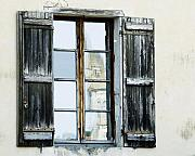 Weathered Shutters Framed Prints - Shuttered Window in France Framed Print by Marion McCristall
