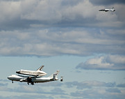 Shuttle Enterprise And Escort Print by Roni Chastain