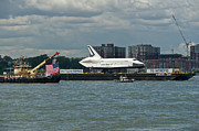 Enterprise Photo Metal Prints - Shuttle Enterprise flag escort Metal Print by Gary Eason