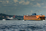 Space Shuttle Enterprise Framed Prints - Shuttle Enterprise glides past Staten Island Ferry Framed Print by Tom Callan