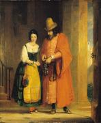 Jew Prints - Shylock and Jessica from The Merchant of Venice Print by Gilbert Stuart Newton