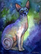 Sphynx Cat Gifts Posters - Shynx Cat 2 painting Poster by Svetlana Novikova