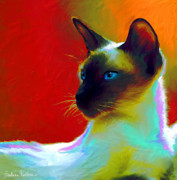 Custom Portrait Framed Prints - Siamese Cat 10 Painting Framed Print by Svetlana Novikova