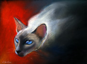 Watercolor  Pastels - Siamese Cat 7 Painting by Svetlana Novikova