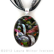 Spring Jewelry - Siamese Cat and Dragonflies Pendant by Laura Iverson