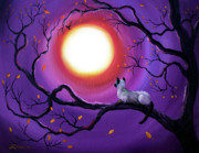 Zenbreeze Paintings - Siamese Cat in Purple Moonlight by Laura Iverson
