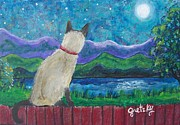 Siamese Cat Print Prints - Siamese cat in the moonlight Print by Paintings by Gretzky
