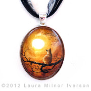 Laura Milnor Iverson Jewelry Originals - Siamese Cat in Timeless Autumn Pendant by Laura Iverson