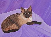 Ruth Housley Metal Prints - Siamese Cat Kristie SOLD Metal Print by Ruth  Housley