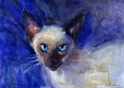 Animal Art Drawings Prints - Siamese Cat  Print by Svetlana Novikova