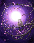 Siamese Cats In Pink Blossoms Print by Laura Iverson
