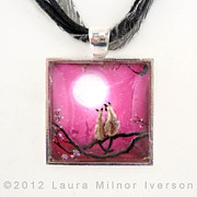 Moon Jewelry - Siamese Cats in Spring Blossoms Pendant by Laura Iverson