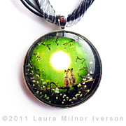 Surrealism Jewelry - Siamese Cats in Spring Moonlight Pendant by Laura Iverson