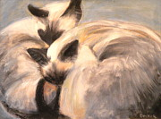 Cats Drawings Originals - Siamese Lovers by Susan A Becker