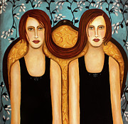 Sisters Framed Prints - Siamese Twins Framed Print by Leah Saulnier The Painting Maniac