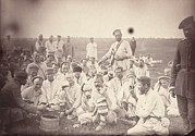 1880s Candid Framed Prints - Siberia, Siberian Convicts Taking Lunch Framed Print by Everett