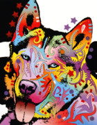 Dean Russo Art Mixed Media Prints - Siberian Husky 2 Print by Dean Russo