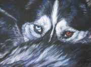 Husky Dog Paintings - Siberian Husky eyes by Lee Ann Shepard