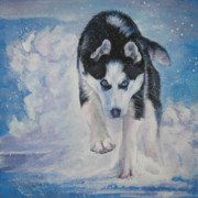 Husky Dog Paintings - Siberian Husky run by Lee Ann Shepard