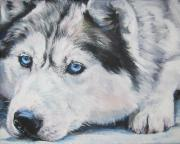 Husky Dog Paintings - Siberian Husky up close by L A Shepard