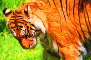 Tiger Digital Art Prints - Siberian Tiger 2 . Photoart Print by Wingsdomain Art and Photography