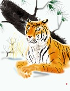 Oriental Tiger Digital Art - Siberian Tiger by Timothy Nieberding