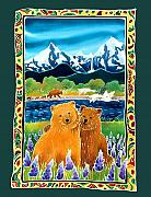 Batik Painting Posters - Sibling Bears of Katmai Poster by Harriet Peck Taylor