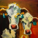 Animal Art Paintings - Sibling Cows by Diane Whitehead