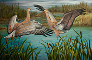 Sandhill Crane Prints - Sibling Rivalry Print by Dee Carpenter