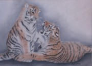 Board Pastels - Sibling Rivalry by Sheila Banga