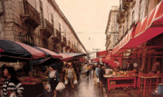 Groceries Digital Art Framed Prints - Sicilian Market After The Rain Framed Print by Ian  MacDonald