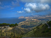 Erice Prints - Sicily Coast From Erice Print by Elaine Snyder