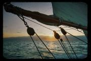 White Digital Art Originals - Sicily Sunset Sailing Solwaymaid by Dustin K Ryan