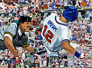 National League Painting Metal Prints - Sid Bream Slide Metal Print by Michael Lee