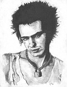 Punk Drawings Posters - Sid Vicious Poster by Jeff Ridlen