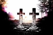 Headstones Digital Art Posters - Side by Side Poster by Diane Payne