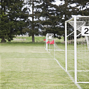 Soccer Field Framed Prints - Side by Side Soccer Goal Nets Framed Print by Jetta Productions, Inc