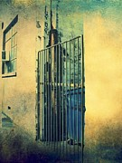 Urban Buildings Posters - Side Gate Poster by Cathie Tyler
