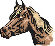 Pen Digital Art - Side Profile Of A Horses Face by Stock Foundry