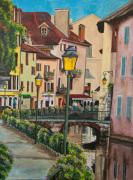 Village In France Posters - Side Streets in Annecy Poster by Charlotte Blanchard
