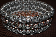 Featured Jewelry Metal Prints - Side View Chainmail Basket Number 2 Metal Print by Aleksandr Rakhlin