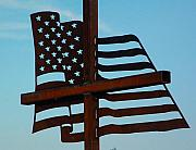 American Flag Sculptures - side view for God and country by Buzz Ferrell