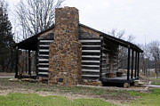 Southern Illinois Photos - Side View of  Historic Log Cabin by Wanda Brandon
