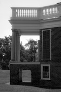 Poplar Forest Photo Metal Prints - Side View South Portico BW Metal Print by Teresa Mucha