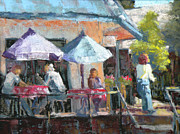 Umbrellas Pastels - Sideewalk Cafe by Jo Ann Sullivan